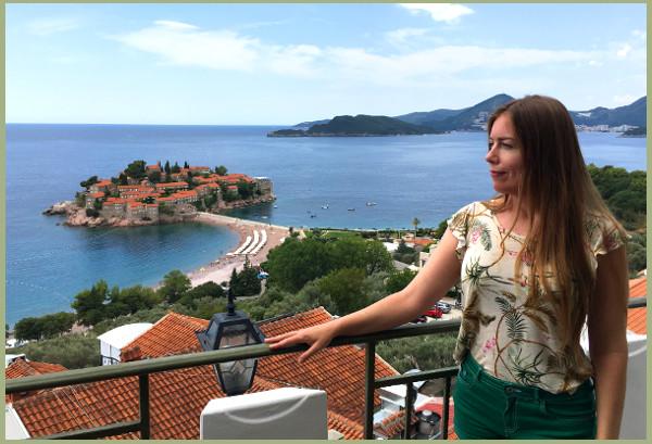 Kate at Sveti Stefan in Montenegro